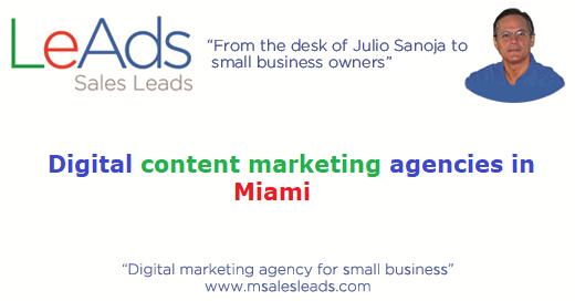 Digital content marketing agencies in miami leads for Content marketing agency