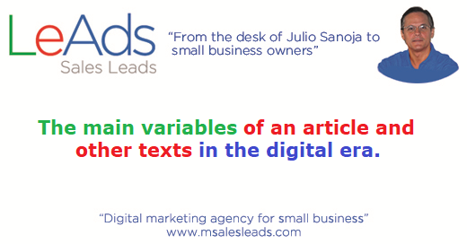 The Main Variables Of An Article And Other Texts In The Digital Era