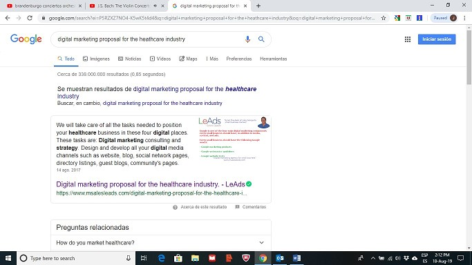 Digital marketing proposal for the healthcare industry